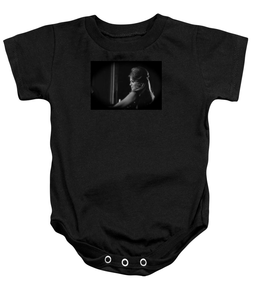 Angie Dickinson Homage Feathers Rio Bravo Howard Hawks High Noon Lauren Bacall Jules Furthman Young Billy Young Old Tucson Arizona Black And White Vignetted Baby Onesie featuring the photograph Angie Dickinson Homage As Feathers In Rio Bravo Old Tucson Arizona 1968 by David Lee Guss