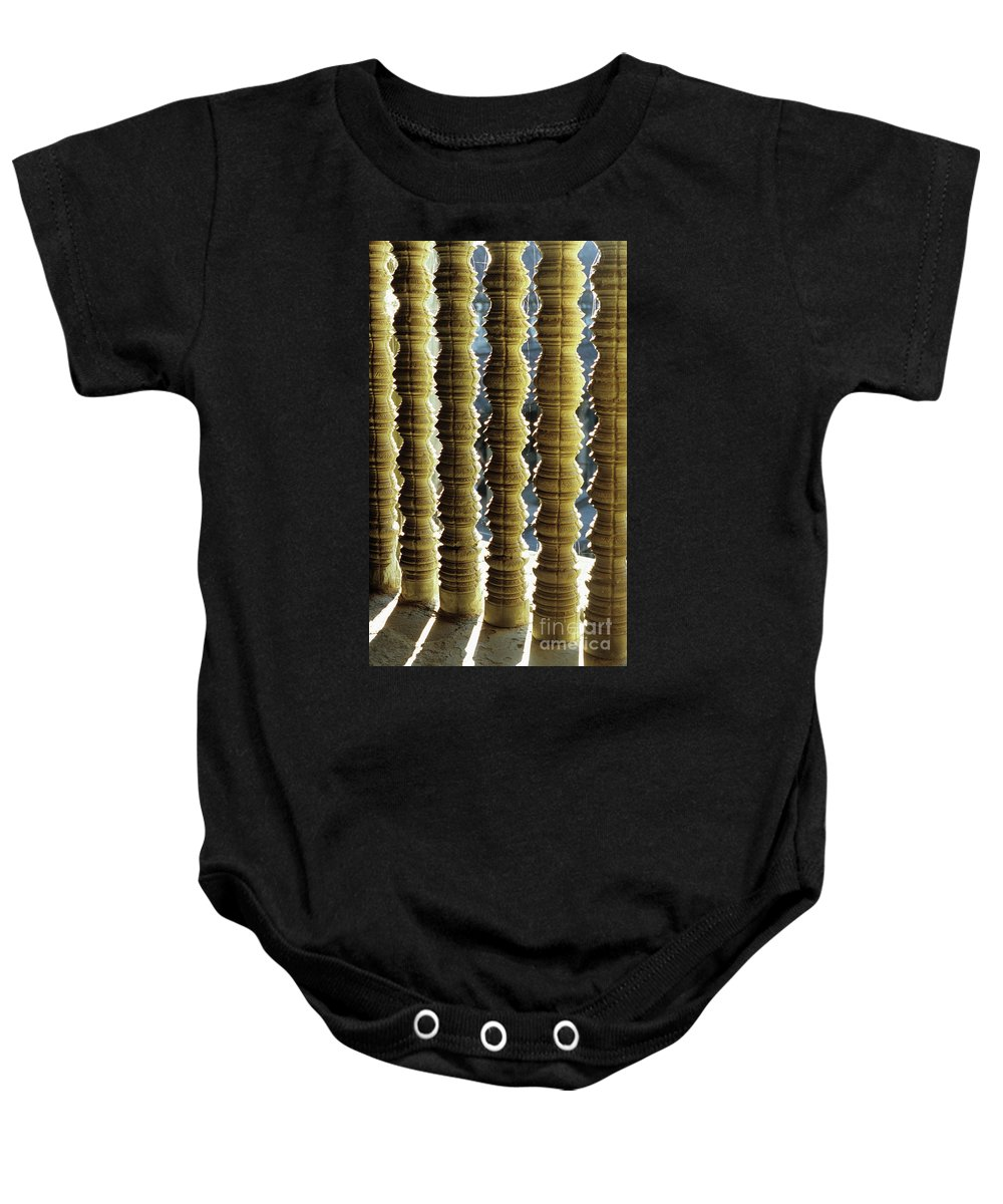 Angkor Baby Onesie featuring the photograph Angkor Wat Colonnettes 01 by Rick Piper Photography