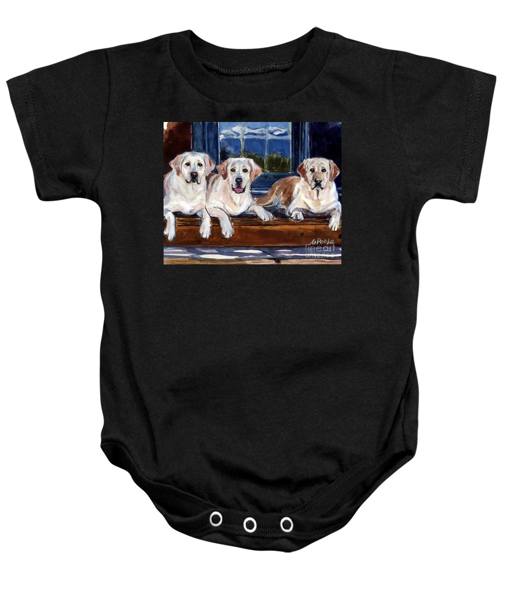 Yellow Labs Baby Onesie featuring the painting Annie And Her Sisters by Molly Poole