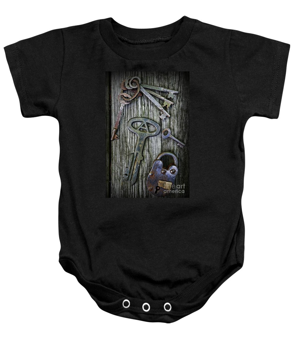 Paul Ward Baby Onesie featuring the photograph Antique Keys And Padlock by Paul Ward