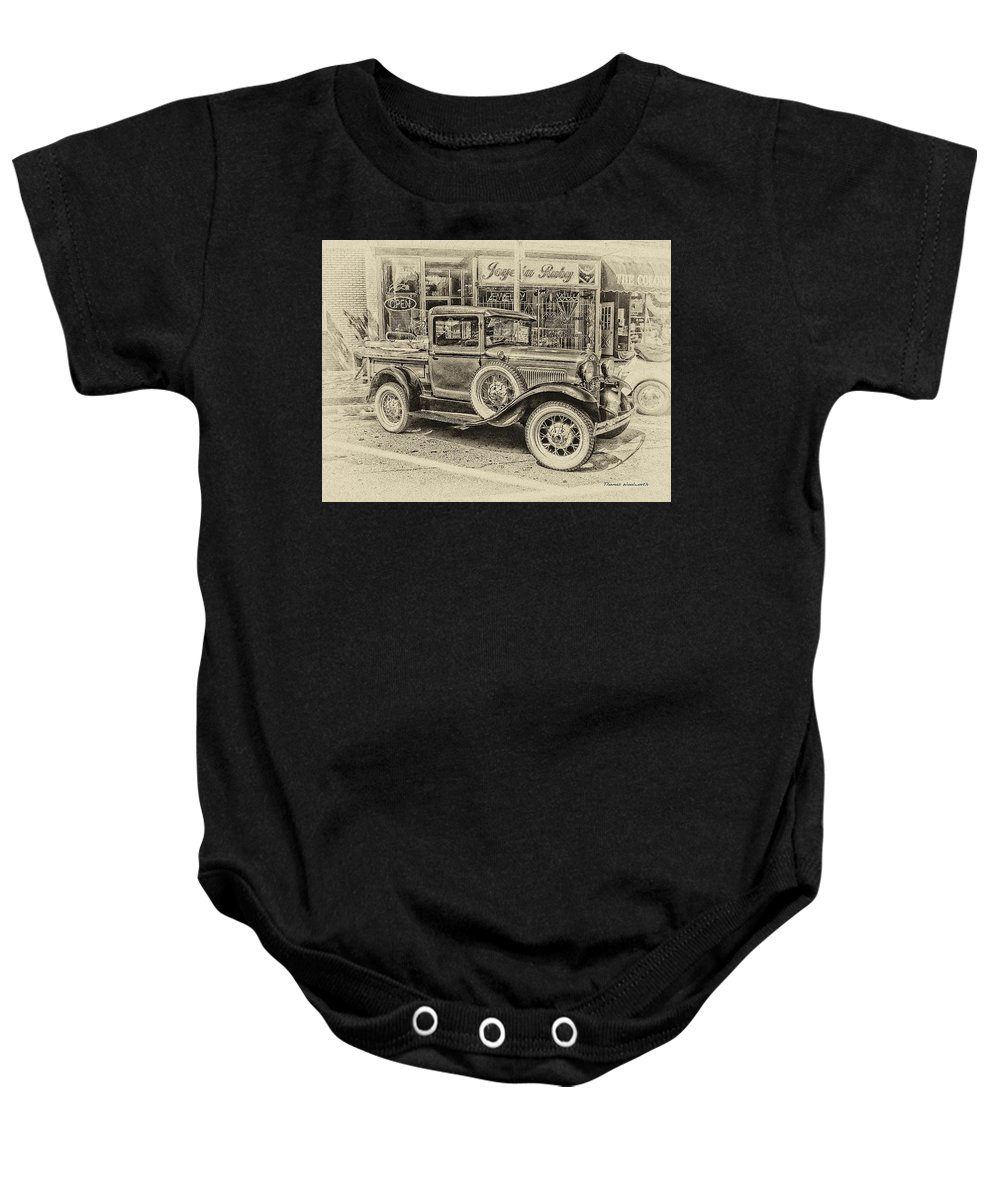 Antique Baby Onesie featuring the photograph Antique Pickup Truck by Thomas Woolworth