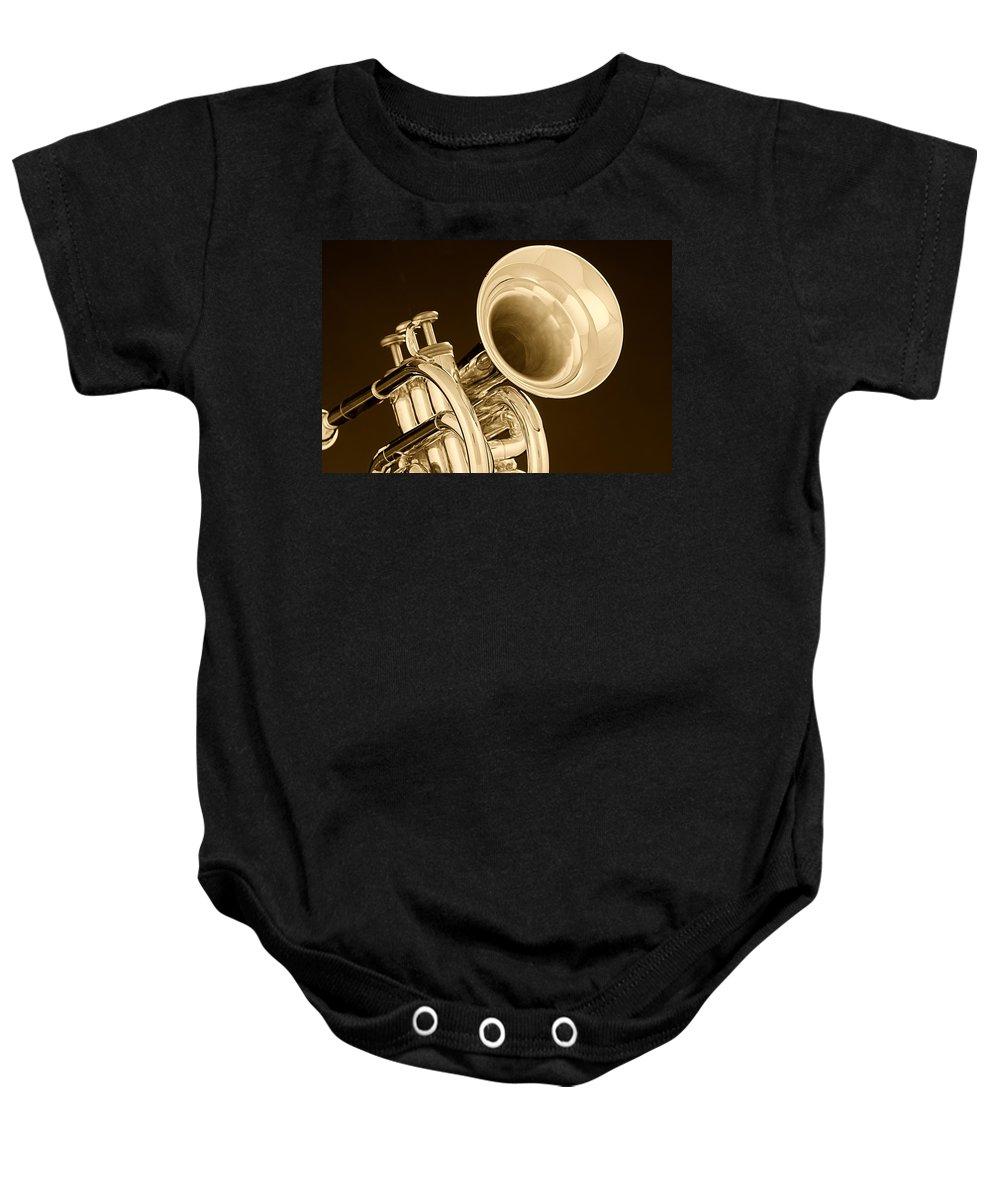Cornet Baby Onesie featuring the photograph Antique Trumpet by M K Miller