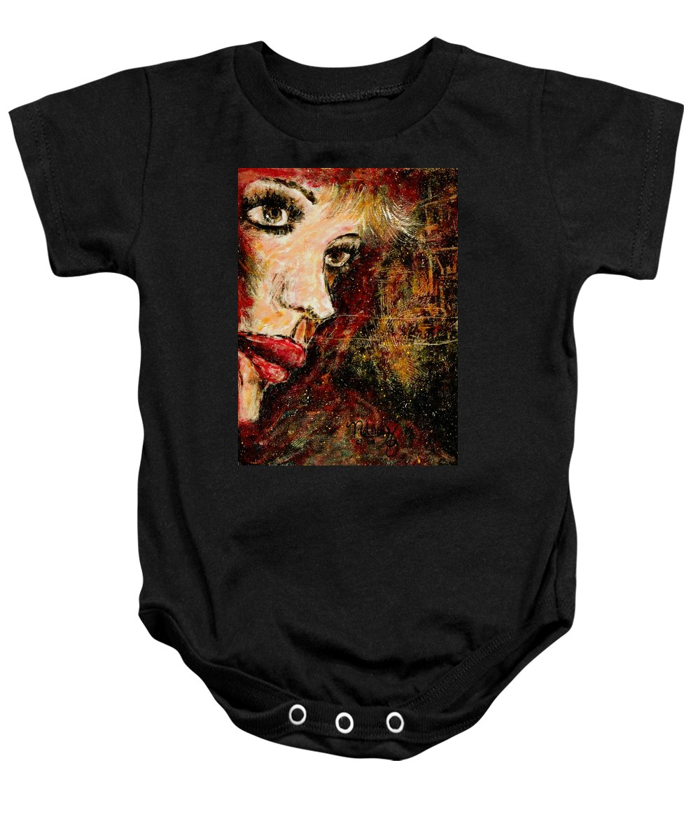 Woman Baby Onesie featuring the painting Anxious Expectations by Natalie Holland