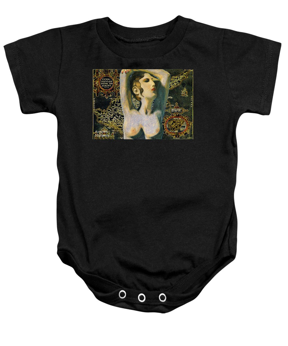 Augusta Stylianou Baby Onesie featuring the digital art Aphrodite And Ancient Cyprus Map by Augusta Stylianou
