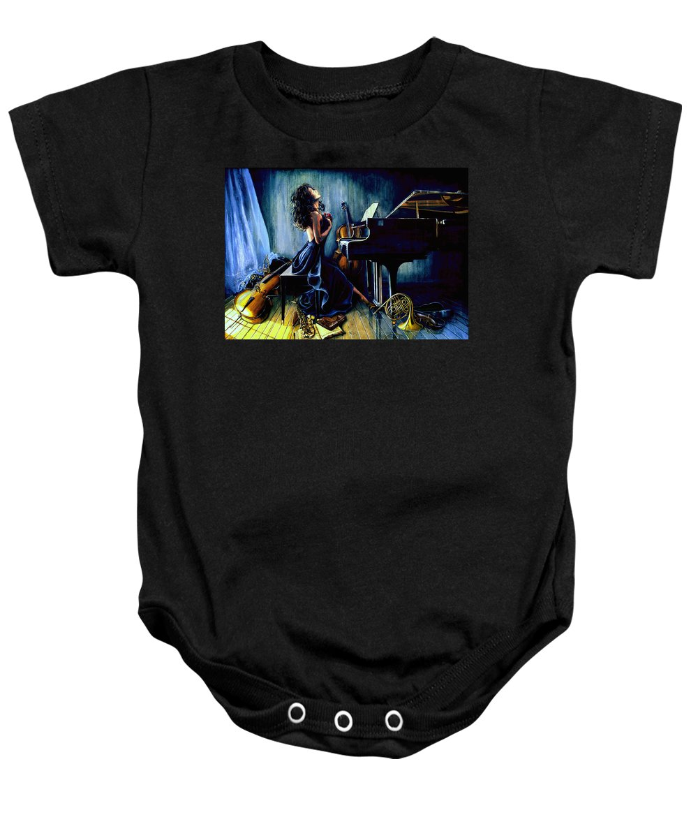 Musical Instrument Still Life Baby Onesie featuring the painting Appassionato by Hanne Lore Koehler