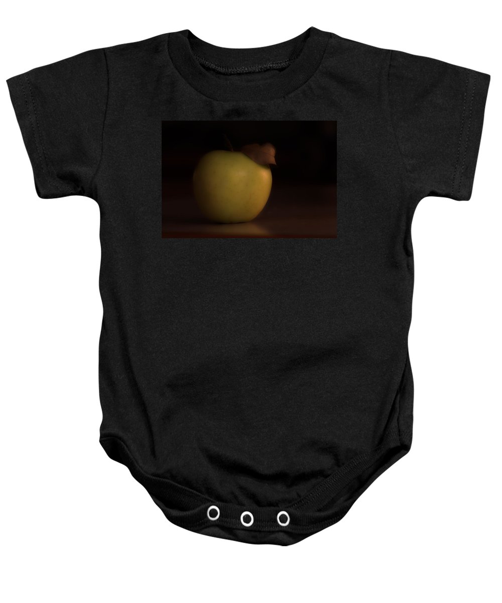 Apple Baby Onesie featuring the photograph Apple With Leaf by David Stone