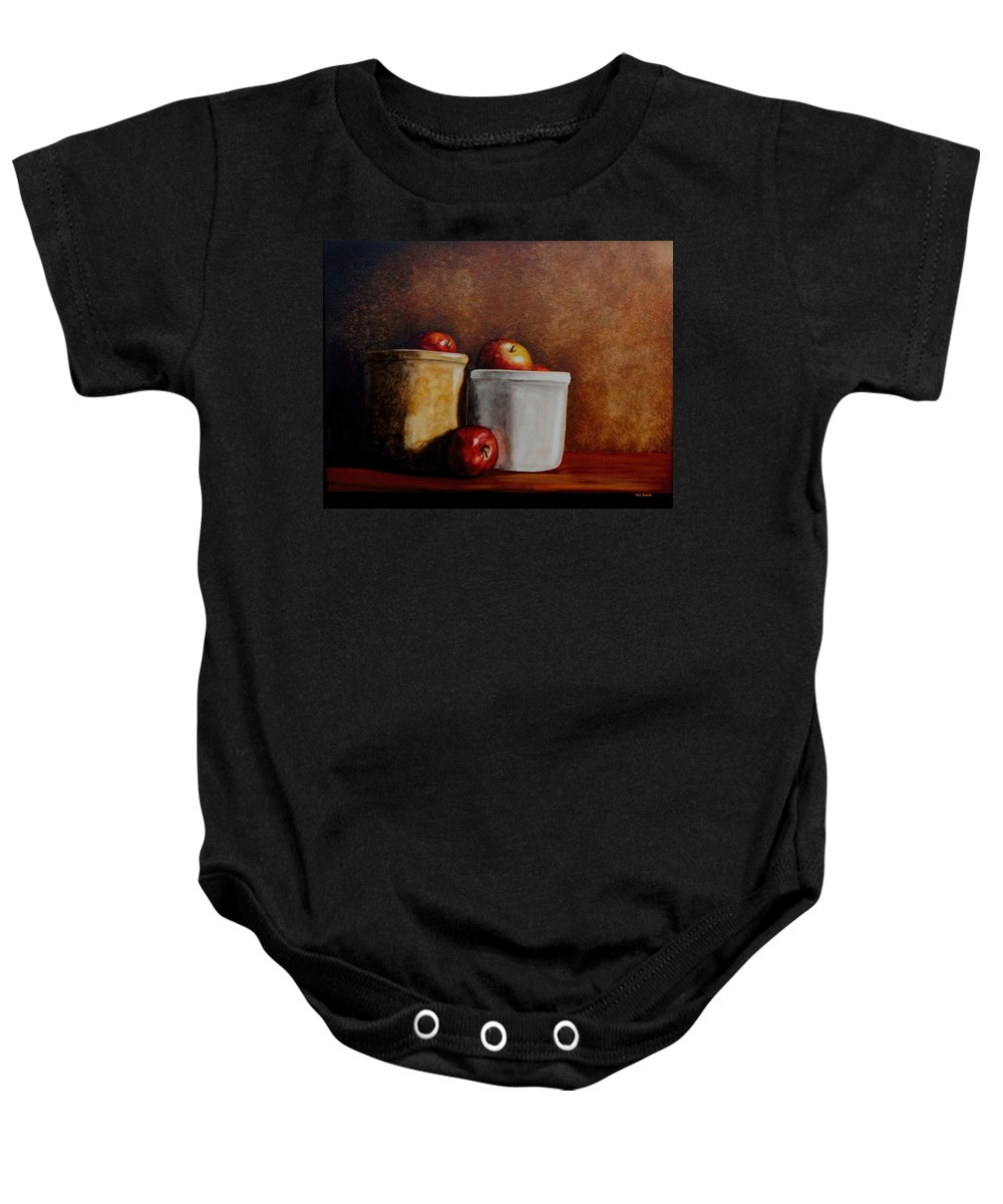 Apples Baby Onesie featuring the painting Apples And Jars by Van Bunch