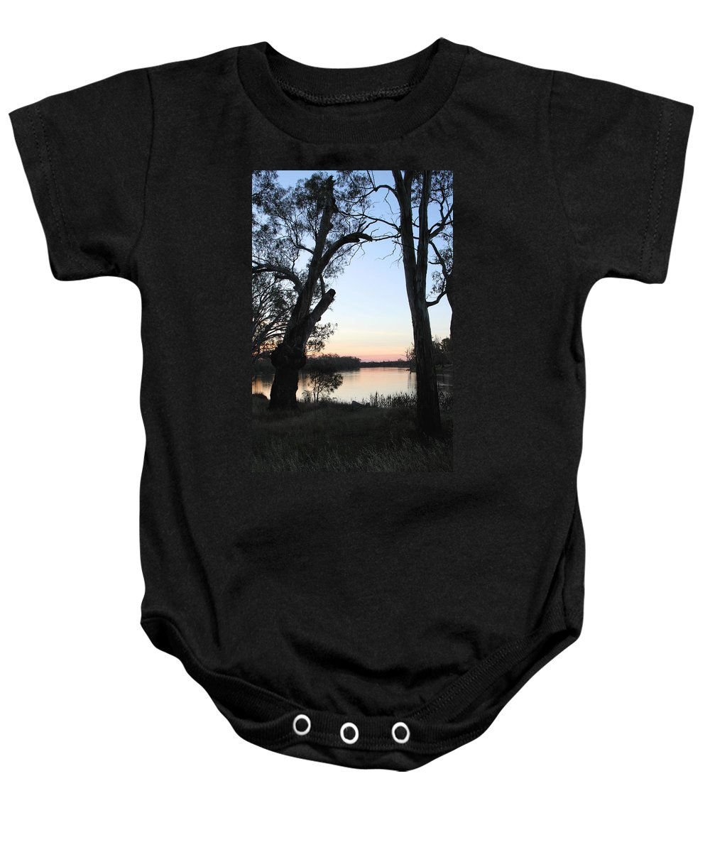River Murray Sunset Baby Onesie featuring the photograph Approaching Sunset Silhouettes by Carole-Anne Fooks