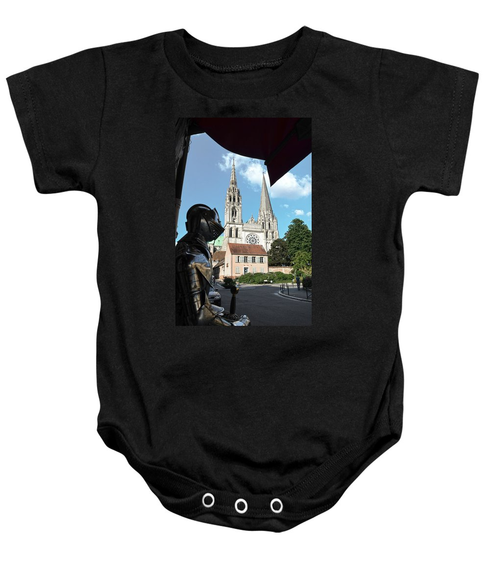 Chartres Baby Onesie featuring the photograph Armor And Chartres Cathedral by RicardMN Photography
