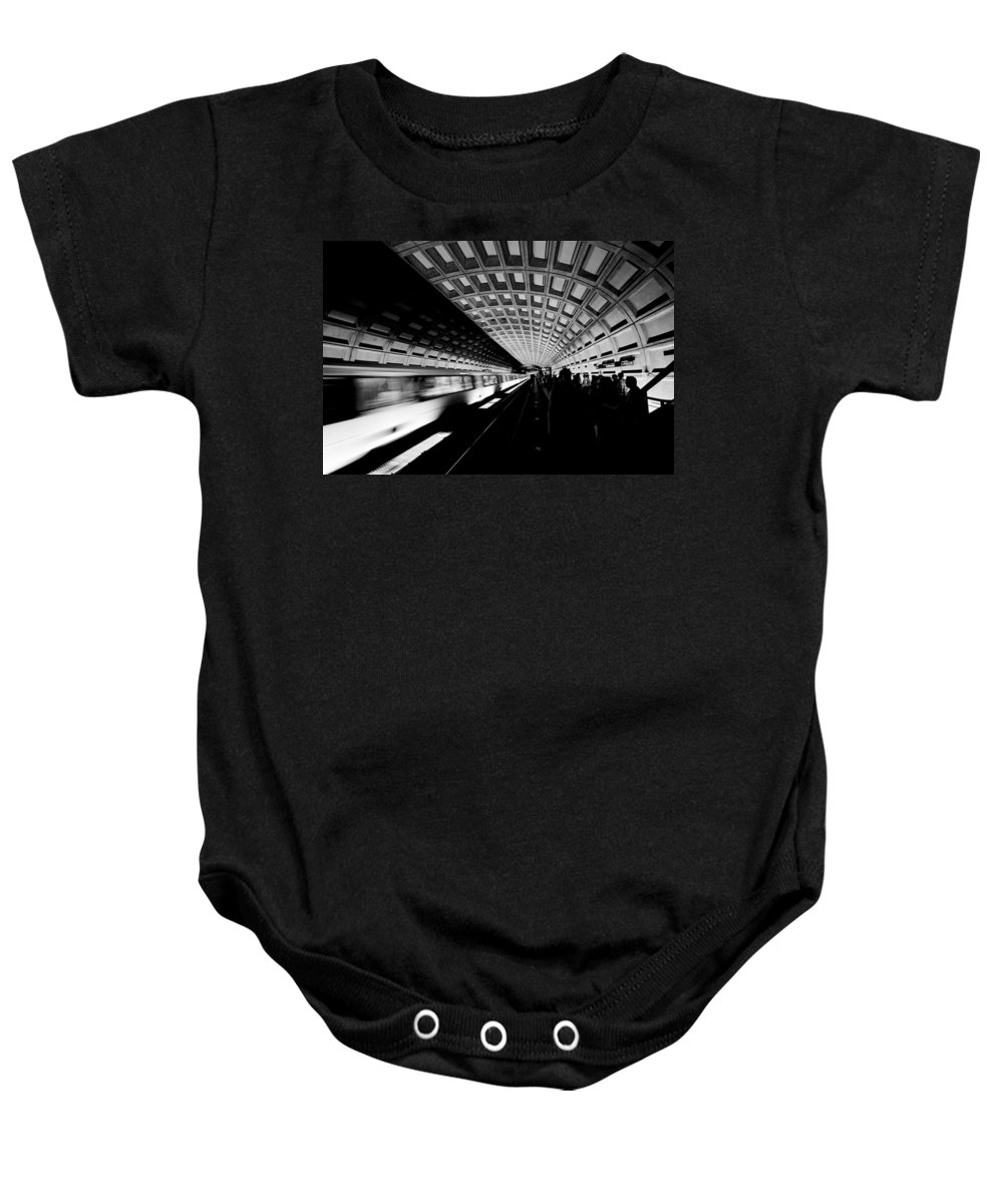 Metro Baby Onesie featuring the photograph Arriving Metro by Paul Riedinger