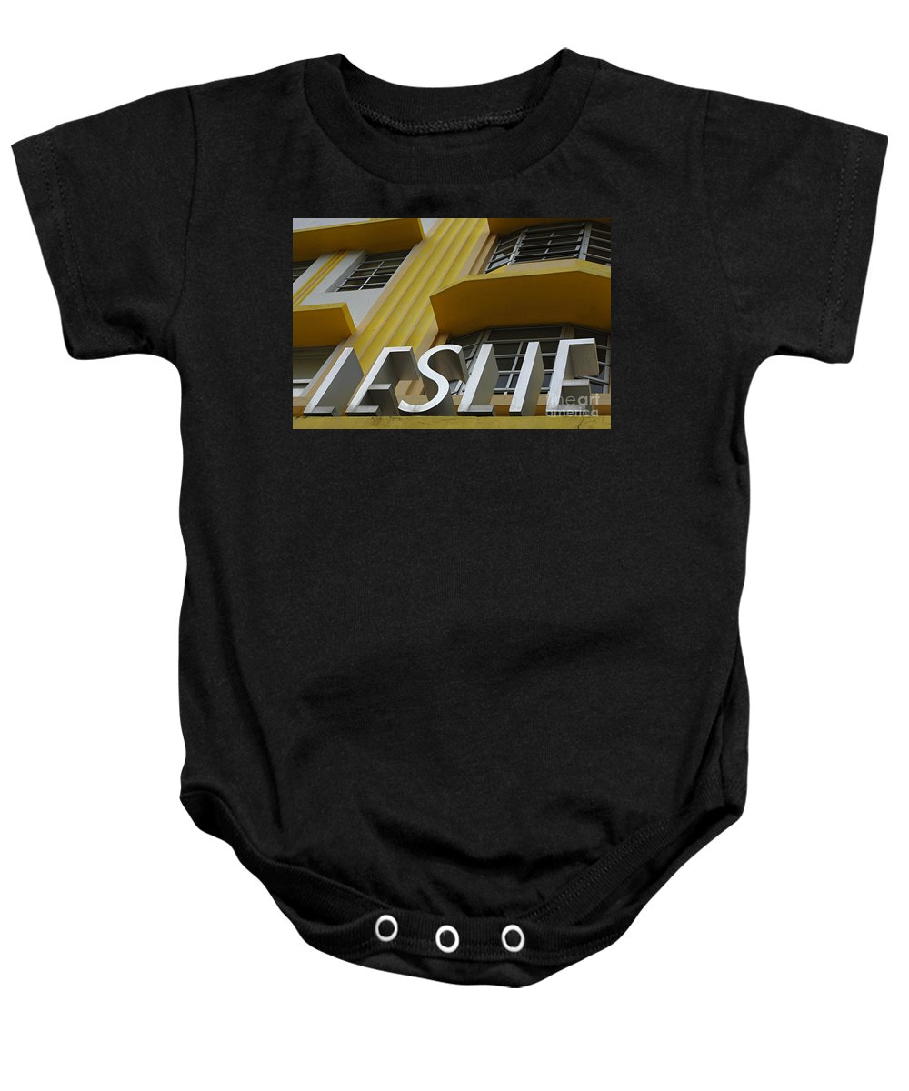 Leslie Hotel Baby Onesie featuring the photograph Art Deco Miami 6 by Bob Christopher