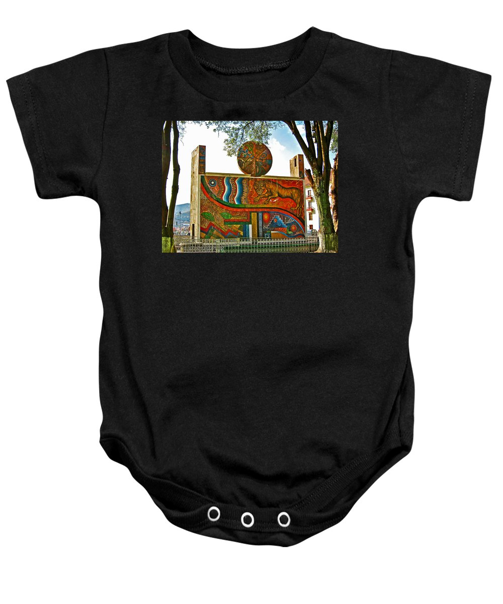 Art In A Cusco Park Baby Onesie featuring the photograph Art In A Cusco Park-peru by Ruth Hager