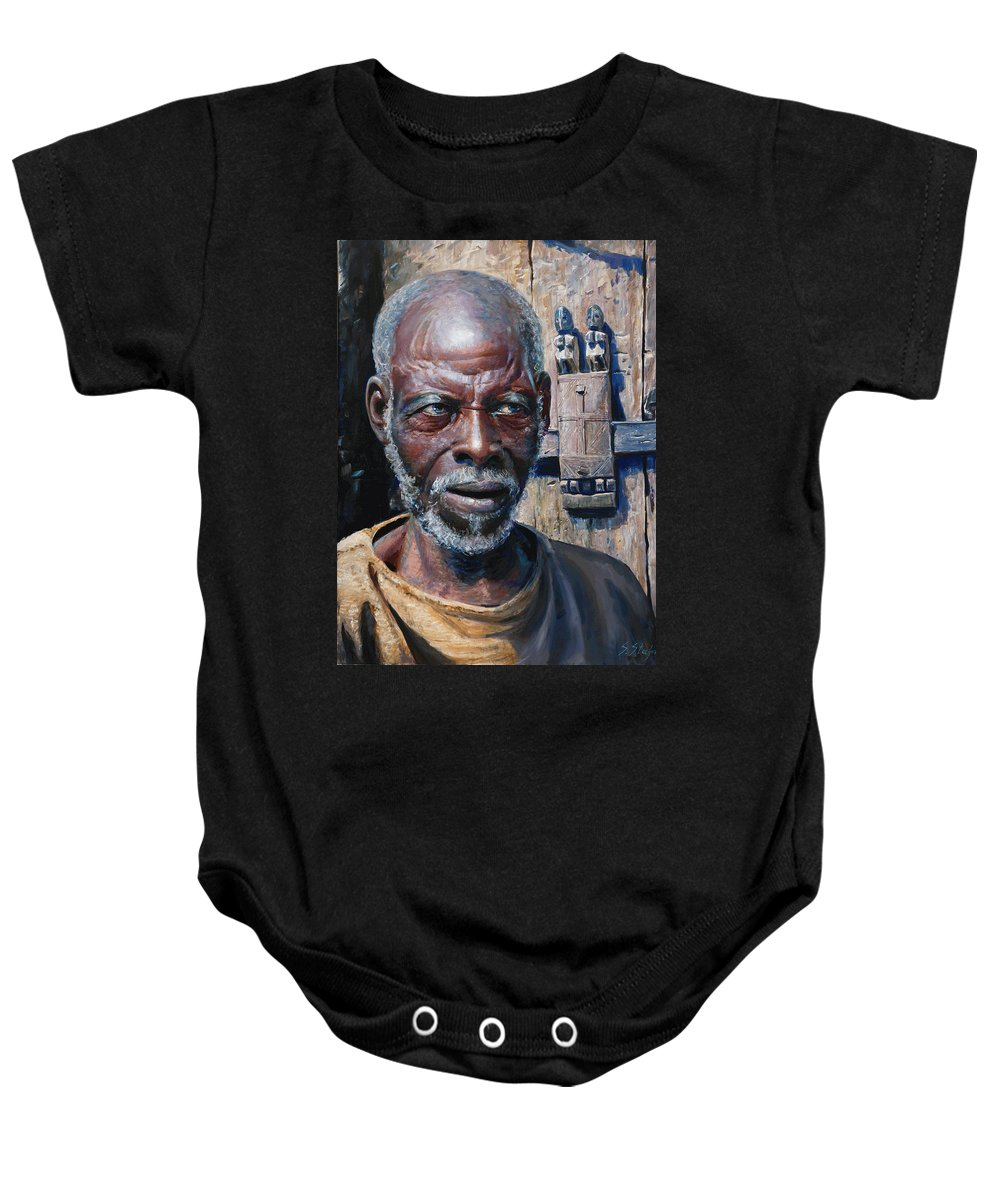 Portrait Baby Onesie featuring the painting Artist by Sefedin Stafa