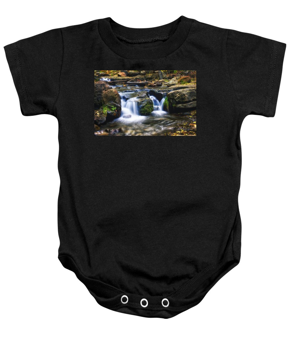 Creekside Baby Onesie featuring the photograph As The Water Flows by Saija Lehtonen
