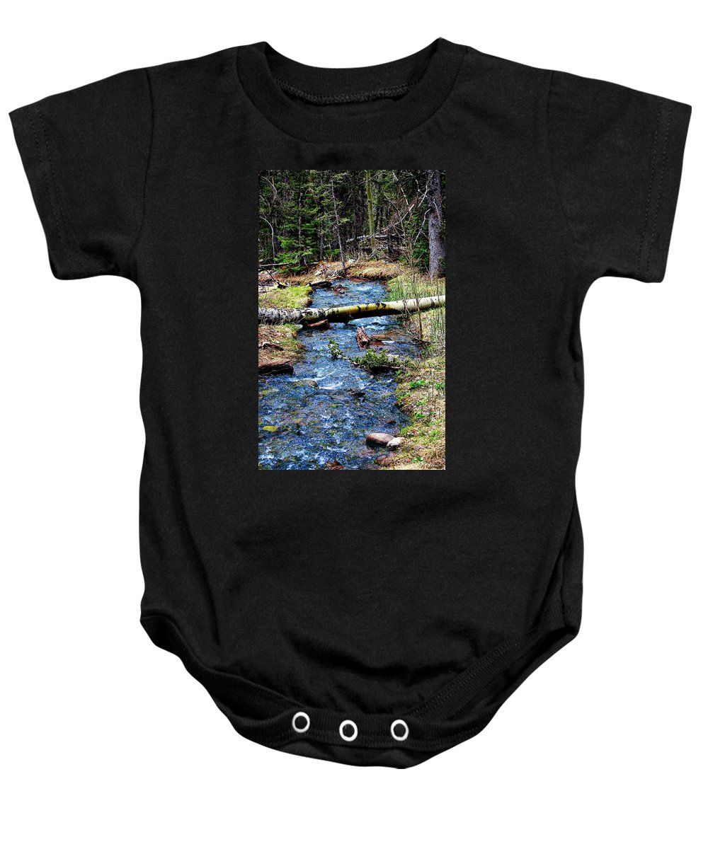 Colorado Landscape Baby Onesie featuring the photograph Aspen Crossing Mountain Stream by Barbara Chichester