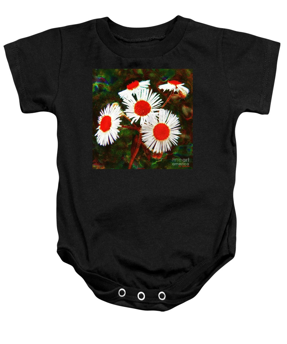 Asters Baby Onesie featuring the painting Asters Bright And Bold by RC DeWinter