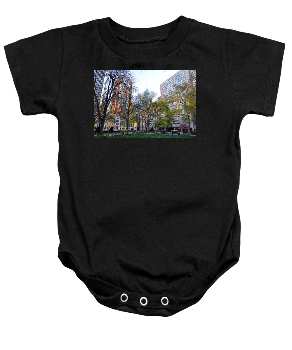 Rittenhouse Baby Onesie featuring the photograph At Rittenhouse Square by Bill Cannon