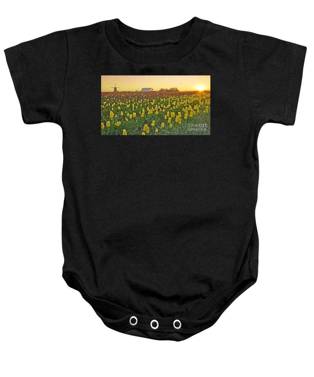 Pacific Baby Onesie featuring the photograph At The Crack Of Dawn by Nick Boren