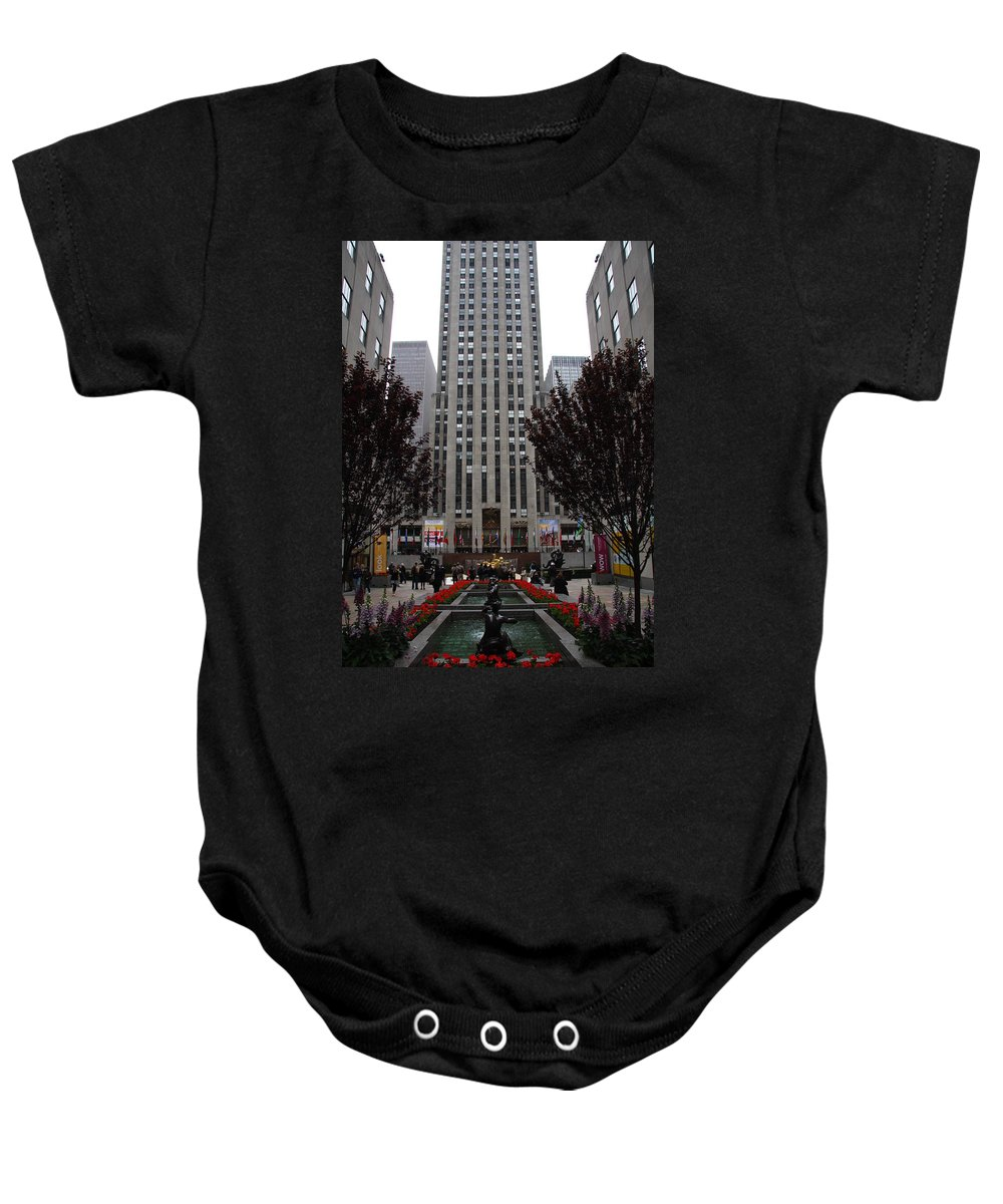 Rockefeller Center Baby Onesie featuring the photograph At The Rockefeller Center by Christiane Schulze Art And Photography