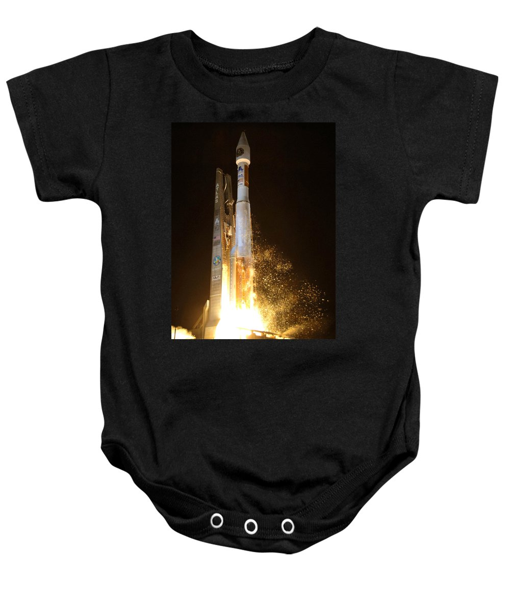 Astronomy Baby Onesie featuring the photograph Atlas V Rocket Taking Off by Science Source