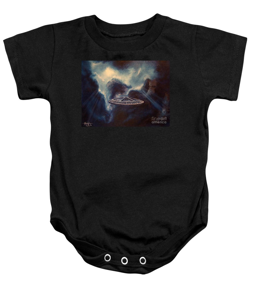 Si-fi Baby Onesie featuring the painting Atmospheric Arrival by Murphy Elliott