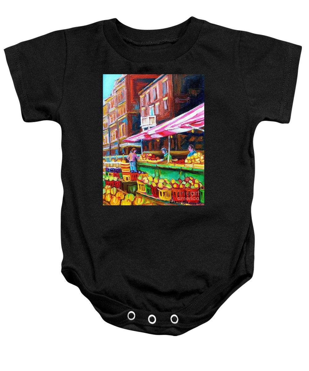 Atwater Market Baby Onesie featuring the painting Atwater Market  by Carole Spandau