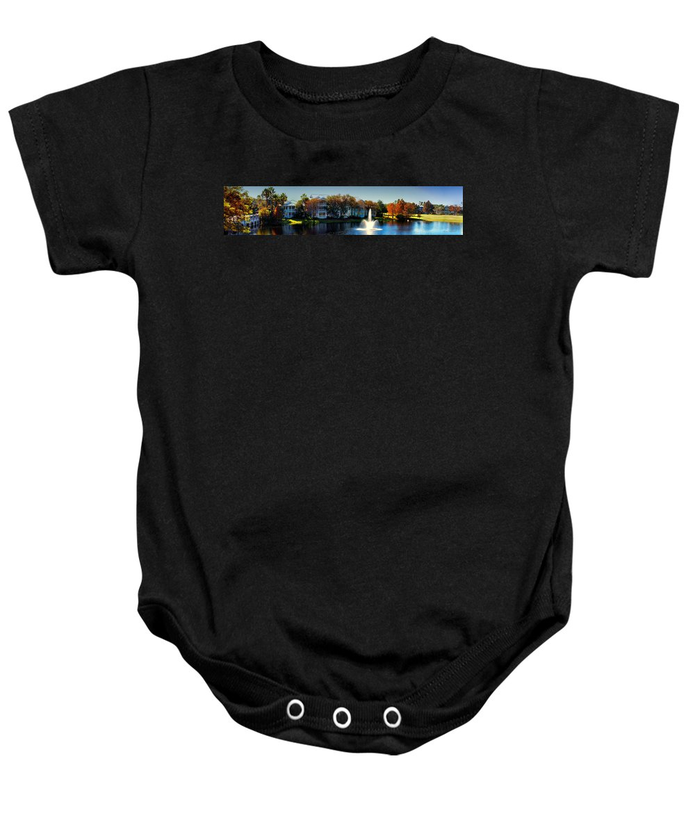 Ablaze Baby Onesie featuring the photograph Autumn At Old Key West Resort Panorama Walt Disney World by Thomas Woolworth