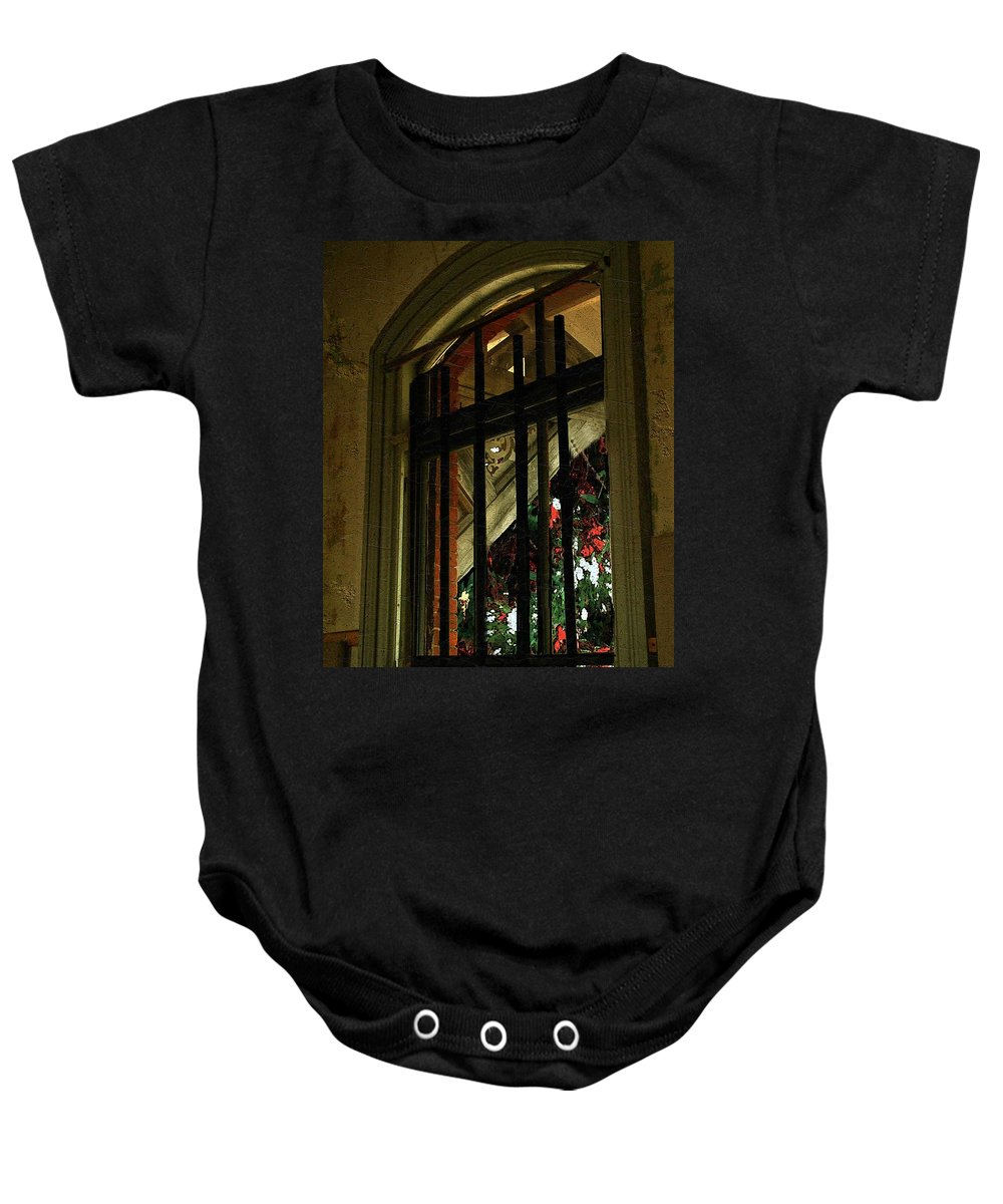 Window Baby Onesie featuring the painting Autumn At The Old Sanitarium by RC DeWinter