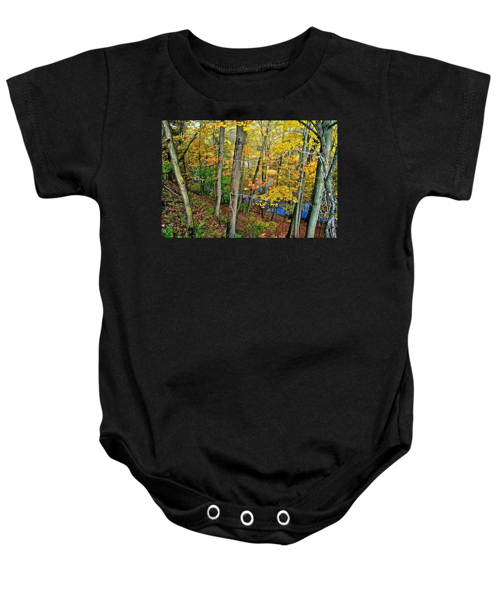 Landscape Baby Onesie featuring the photograph Autumn Below by Frozen in Time Fine Art Photography