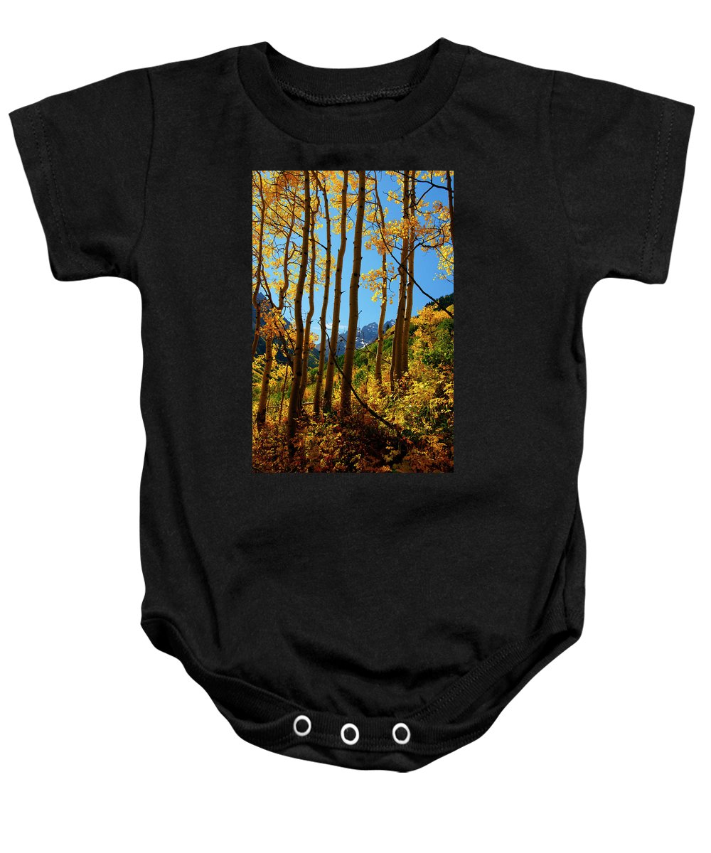 Colorado Baby Onesie featuring the photograph Autumn Brilliance by Jeremy Rhoades