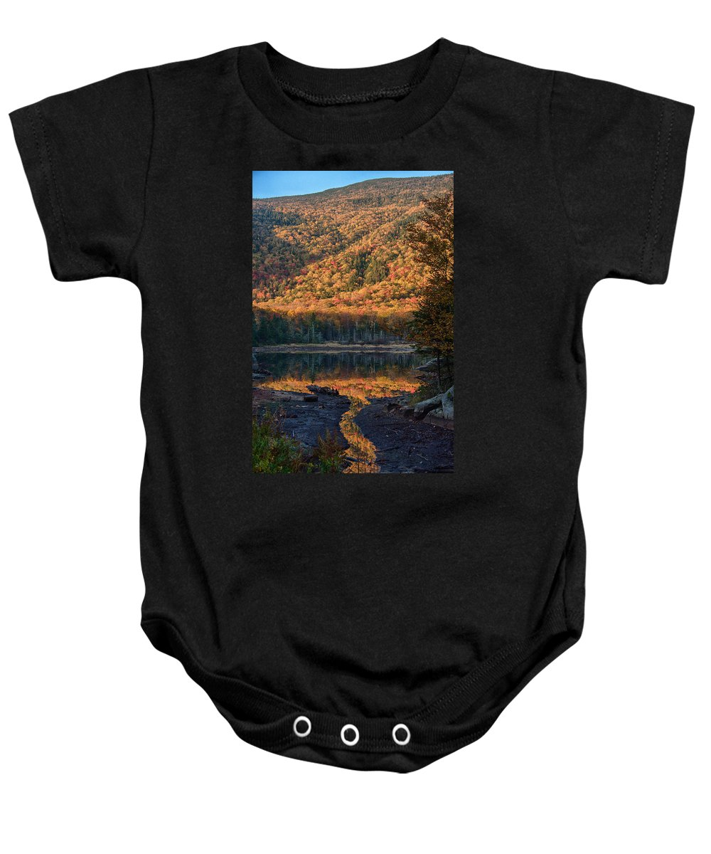 Kinsman Notch Baby Onesie featuring the photograph Autumn Colors Reflected In Stream by Jeff Folger
