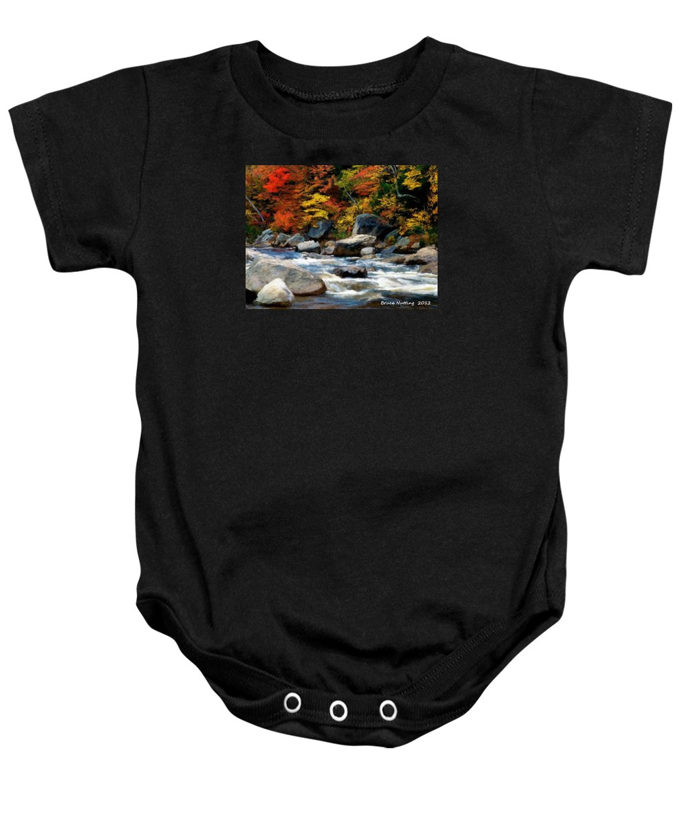 Colorful Baby Onesie featuring the painting Autumn Creek by Bruce Nutting