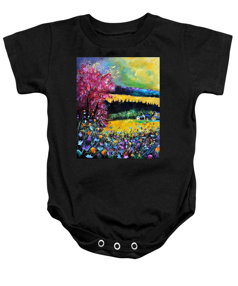 Landscape Baby Onesie featuring the painting Autumn Flowers by Pol Ledent