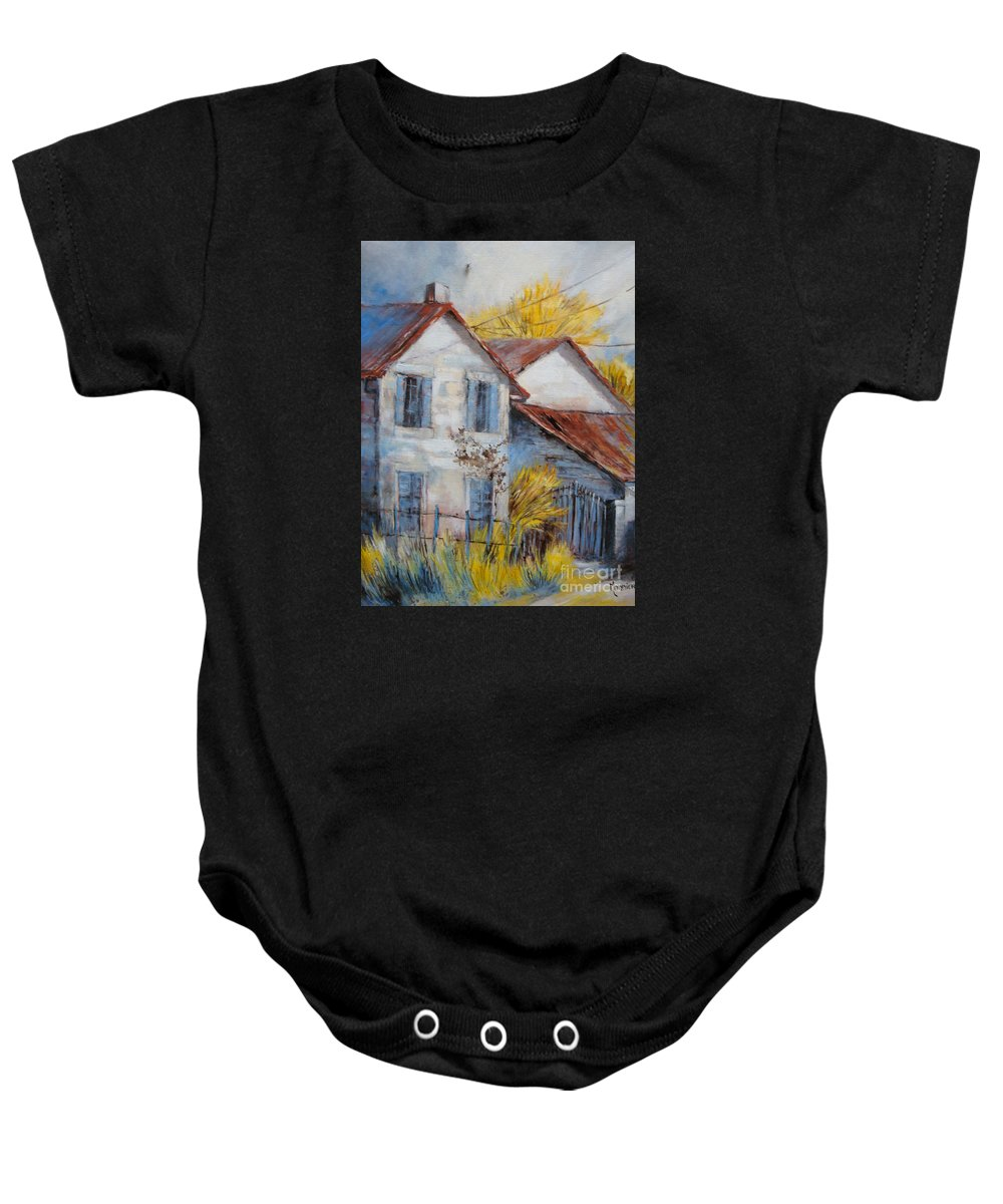 Landscape Baby Onesie featuring the painting Autumn In La Garde by Cathy MONNIER