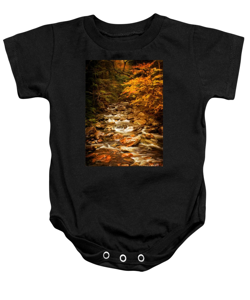 Autumn In Vermont Baby Onesie featuring the photograph Autumn In Vermont by Priscilla Burgers