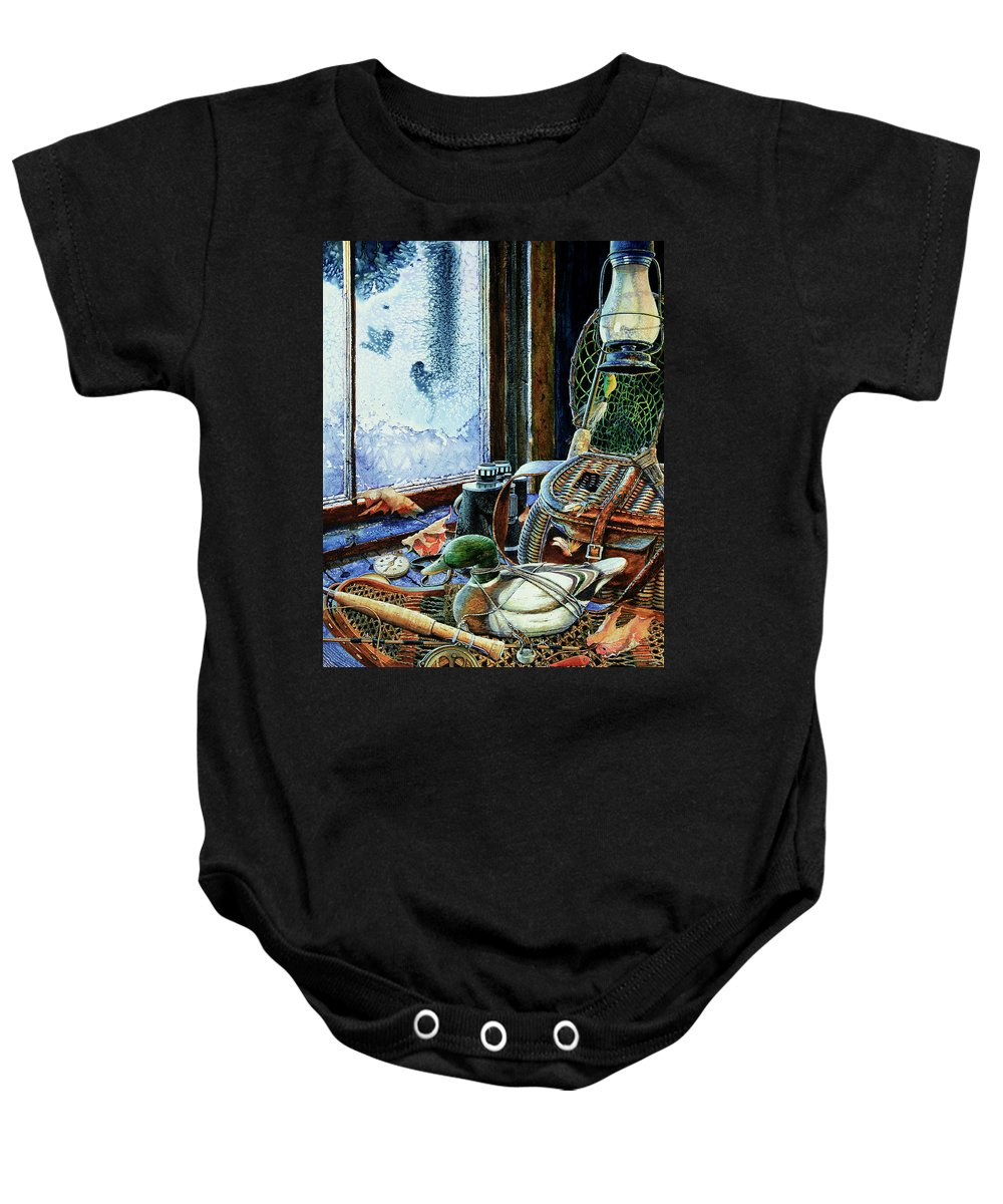 Autumn Memories Baby Onesie featuring the painting Autumn Memories by Hanne Lore Koehler
