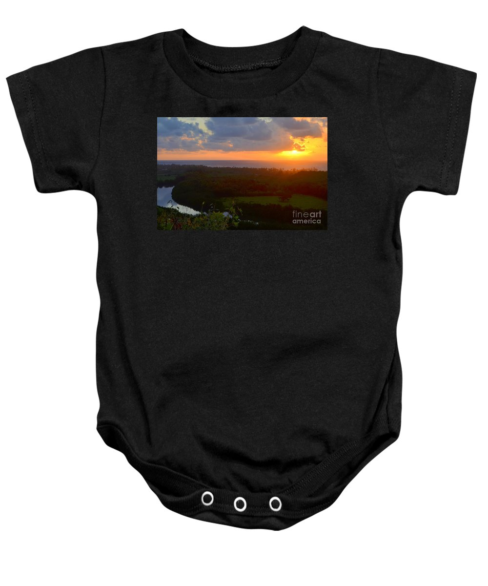 Autumn Baby Onesie featuring the photograph Autumn Morning Over Wailua by Mary Deal