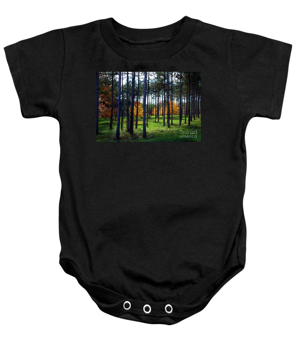 Trees Baby Onesie featuring the photograph Autumn Trees by Nancy Mueller