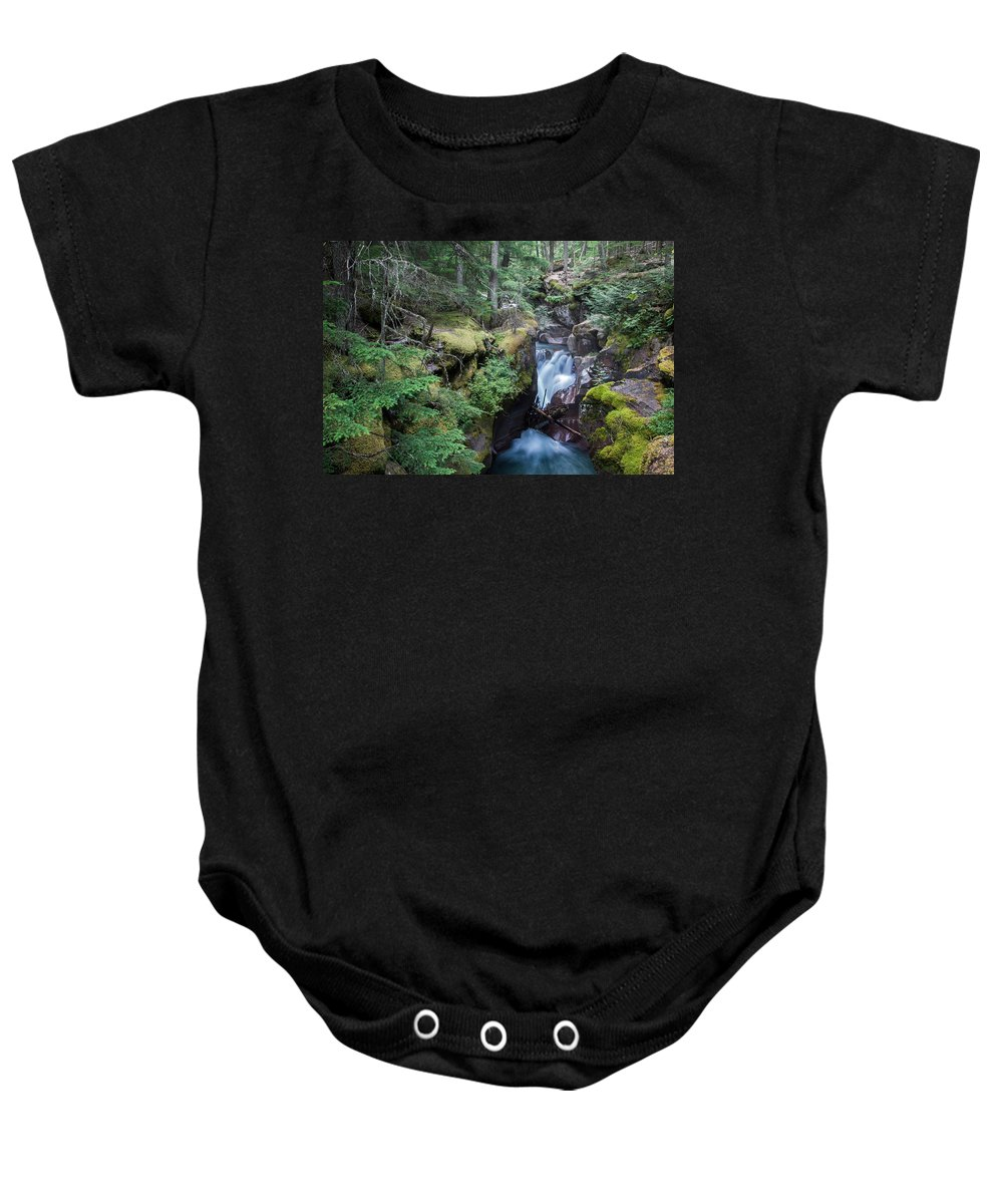 Avalanche Creek Baby Onesie featuring the photograph Avalanche Creek In Cedar Forest by Jack Bell