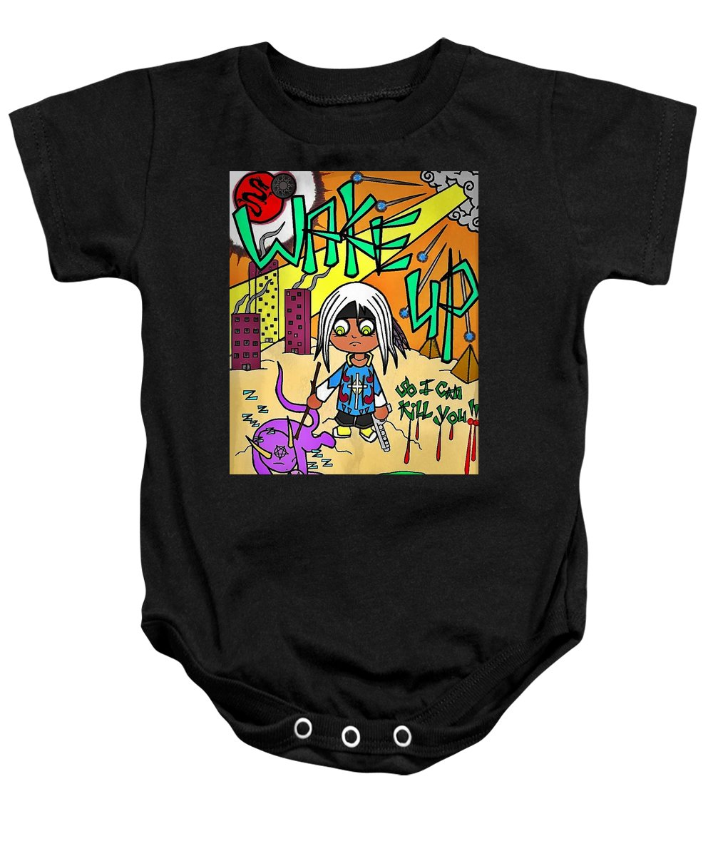 Tribal Baby Onesie featuring the digital art Awakened by Alexander Ladd