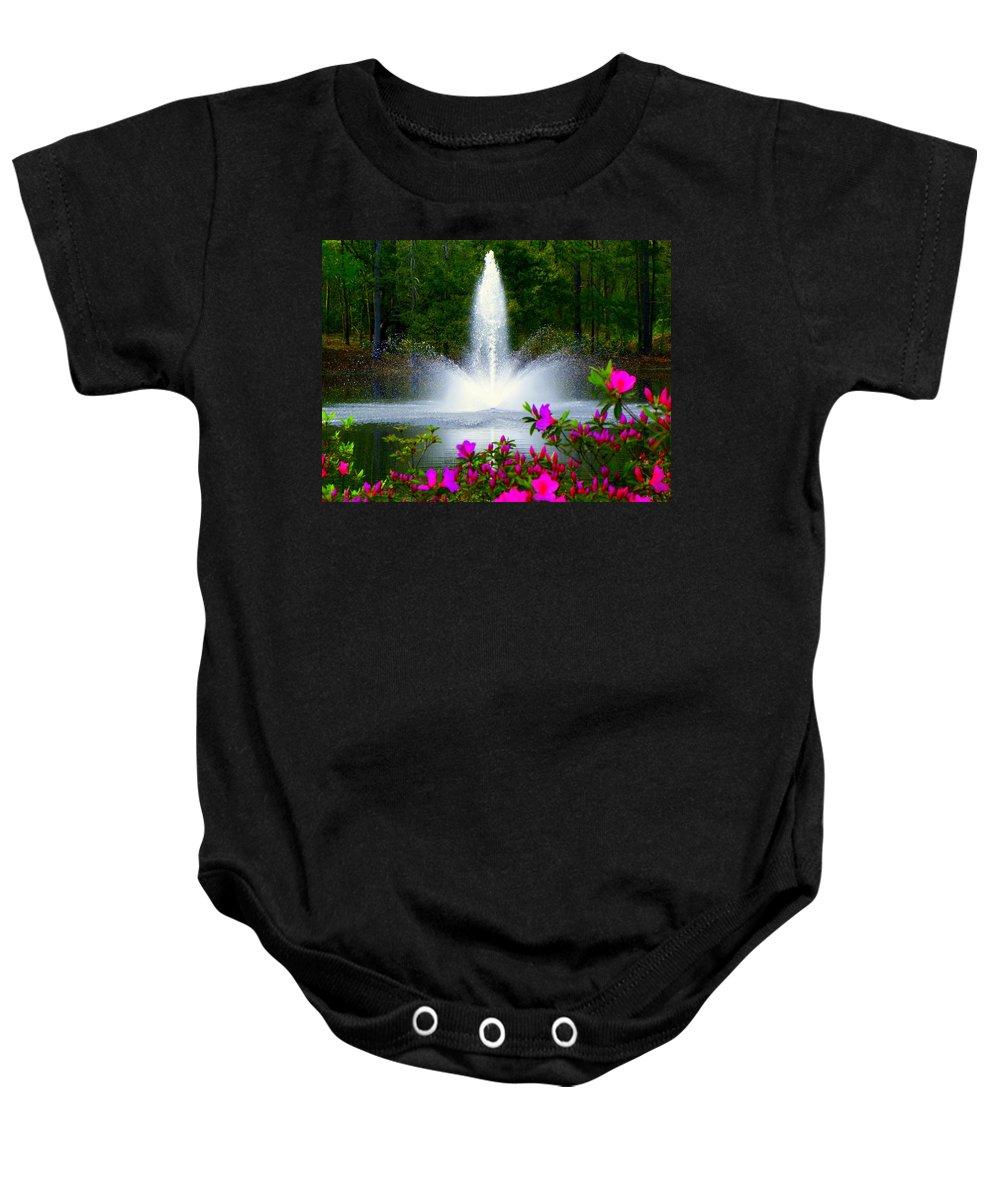 Azaleas Baby Onesie featuring the photograph Azalea Mist by Karen Wiles