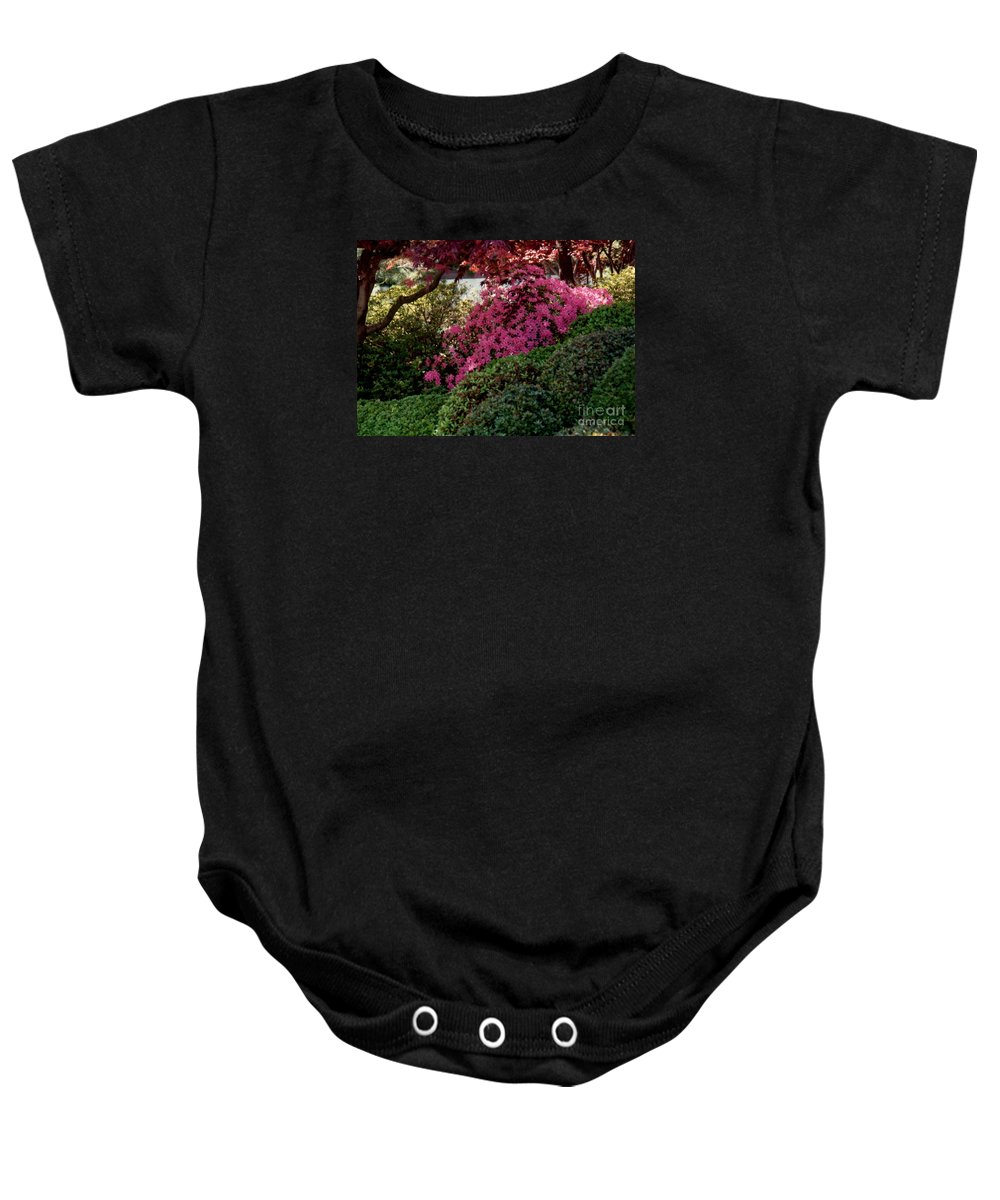 Azaleas Baby Onesie featuring the photograph Azaleas And Red Maple Tree by Ruth Housley