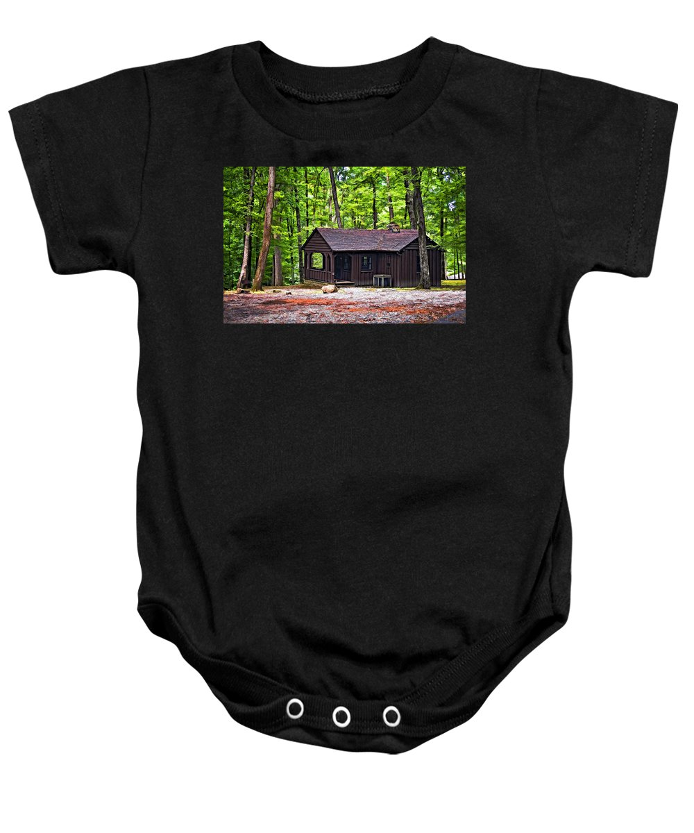 Cabin Baby Onesie featuring the photograph Babcock Cabin by Steve Harrington
