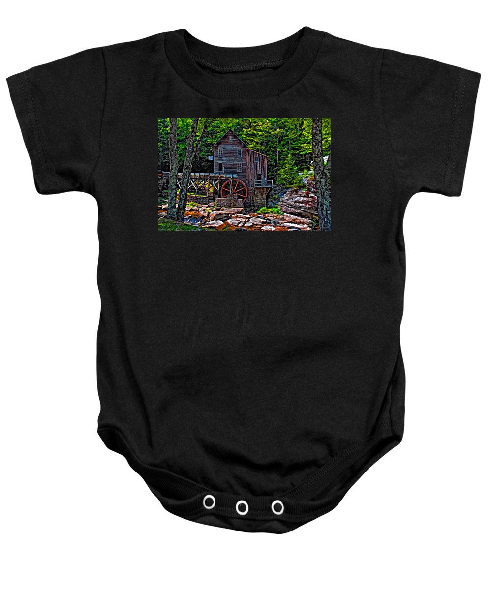 West Virginia Baby Onesie featuring the photograph Babcock State Park Paint by Steve Harrington