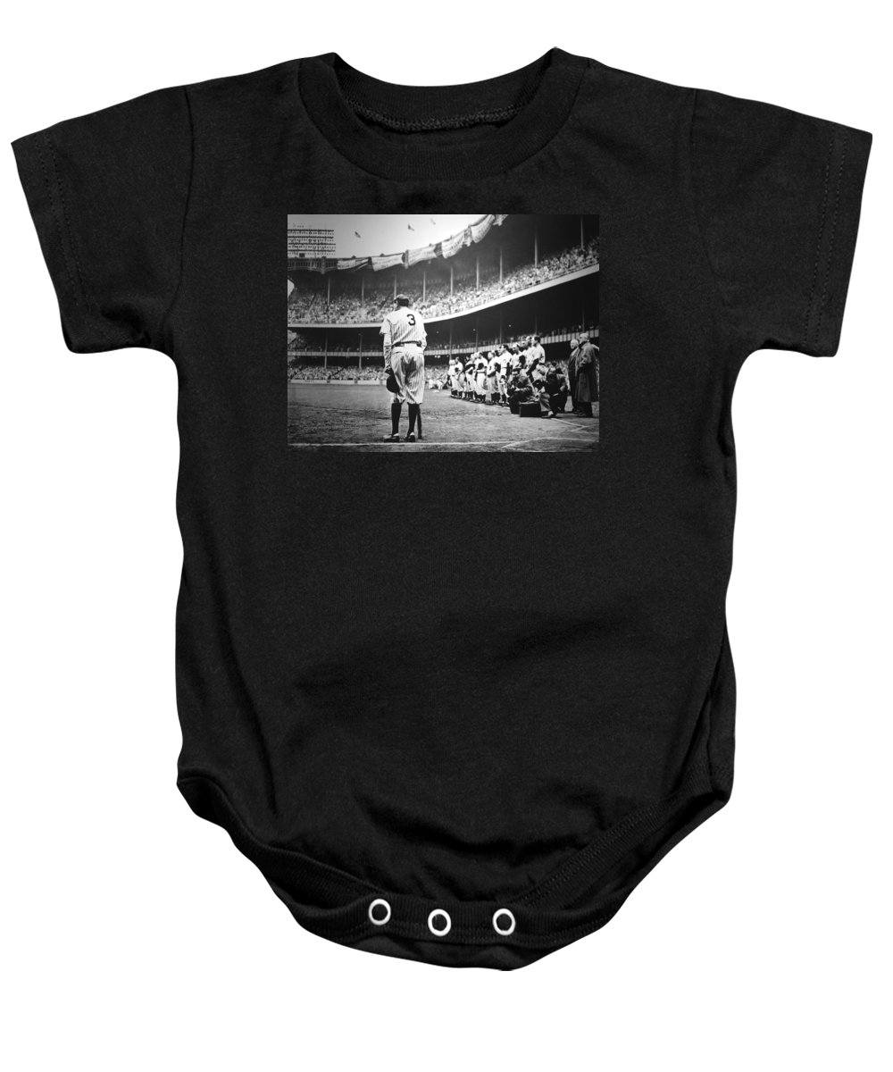 Babe Baby Onesie featuring the photograph Babe Ruth Poster by Gianfranco Weiss