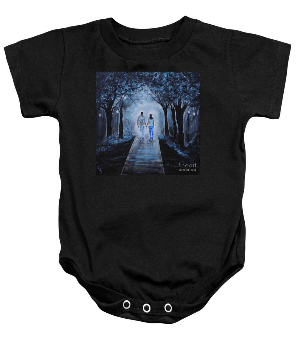 Couple Painting Baby Onesie featuring the painting Baby I'm Yours by Leslie Allen