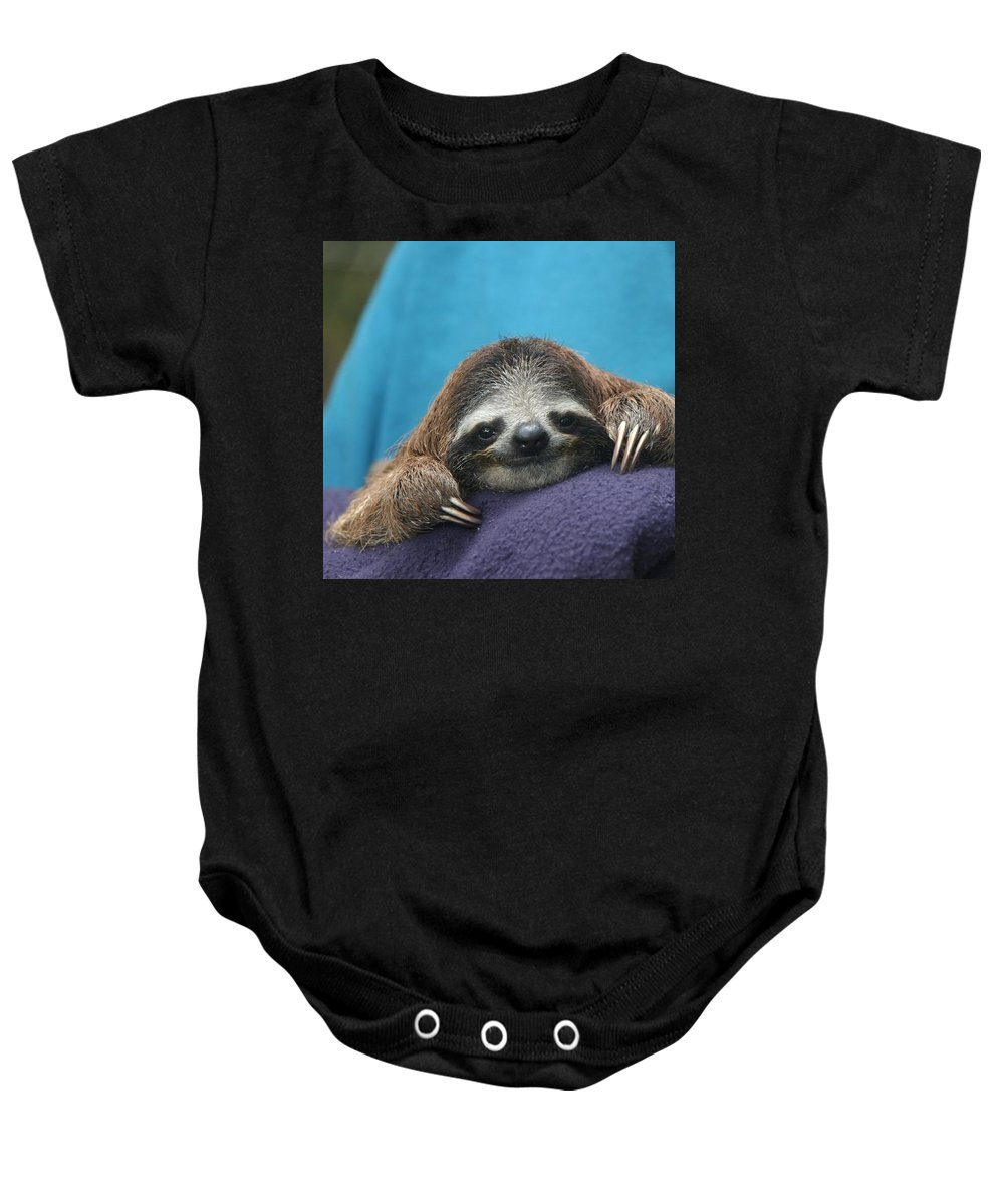 Animal Baby Onesie featuring the photograph Baby Sloth by Cyril Brass