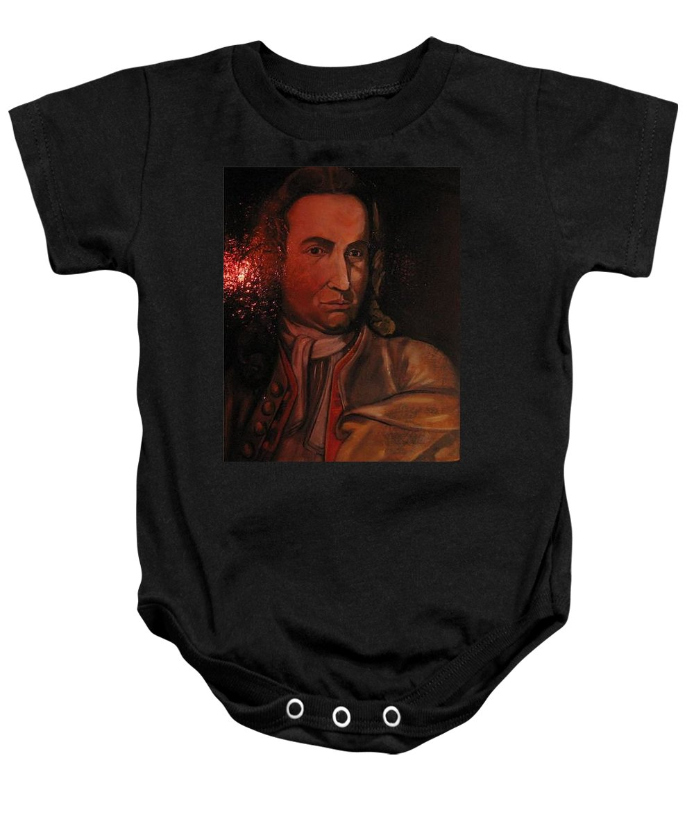Baby Onesie featuring the painting Bach Portrait After Heavy Varnish by Jude Darrien