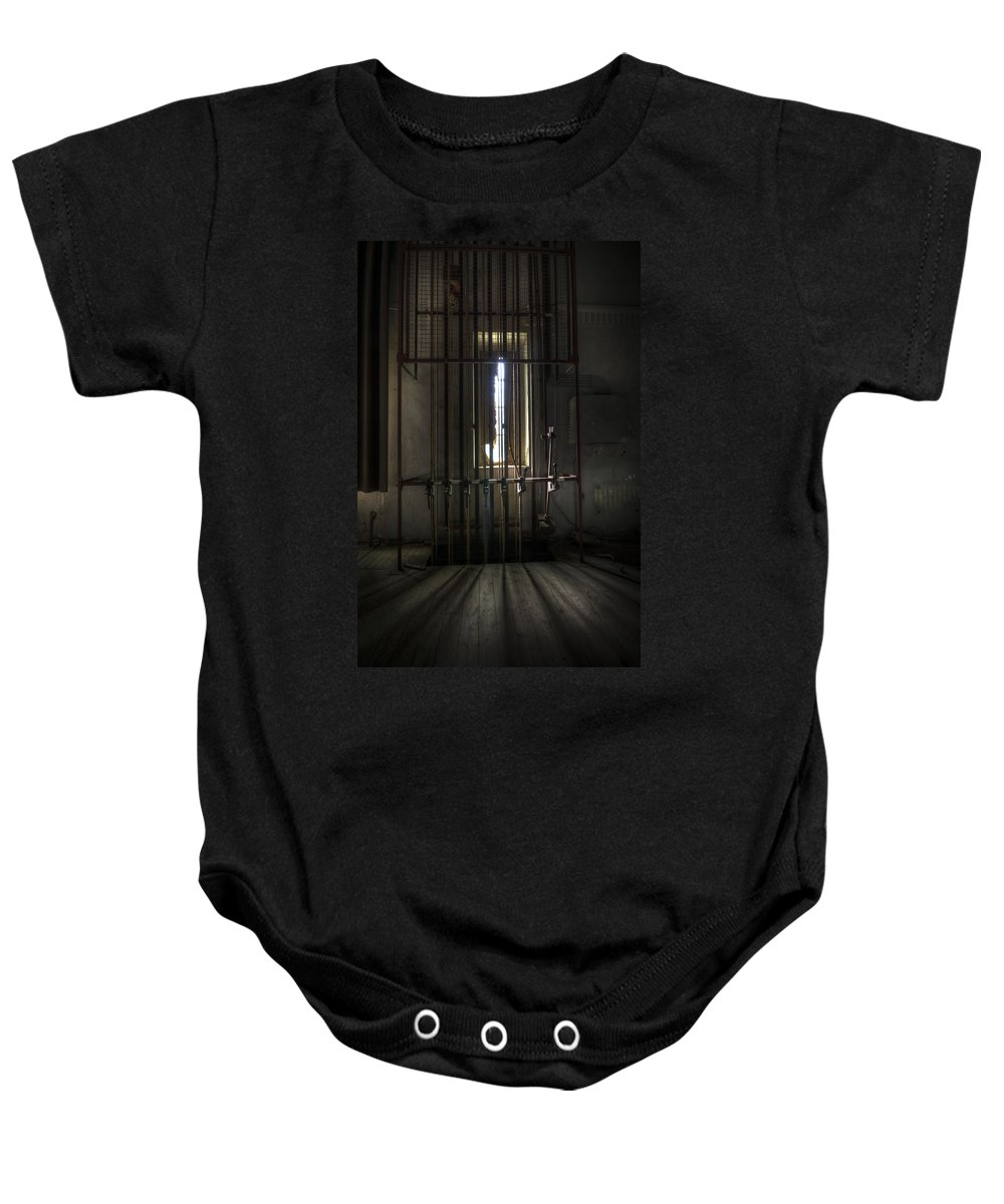 Abandoned Baby Onesie featuring the digital art Backstage Control. by Nathan Wright