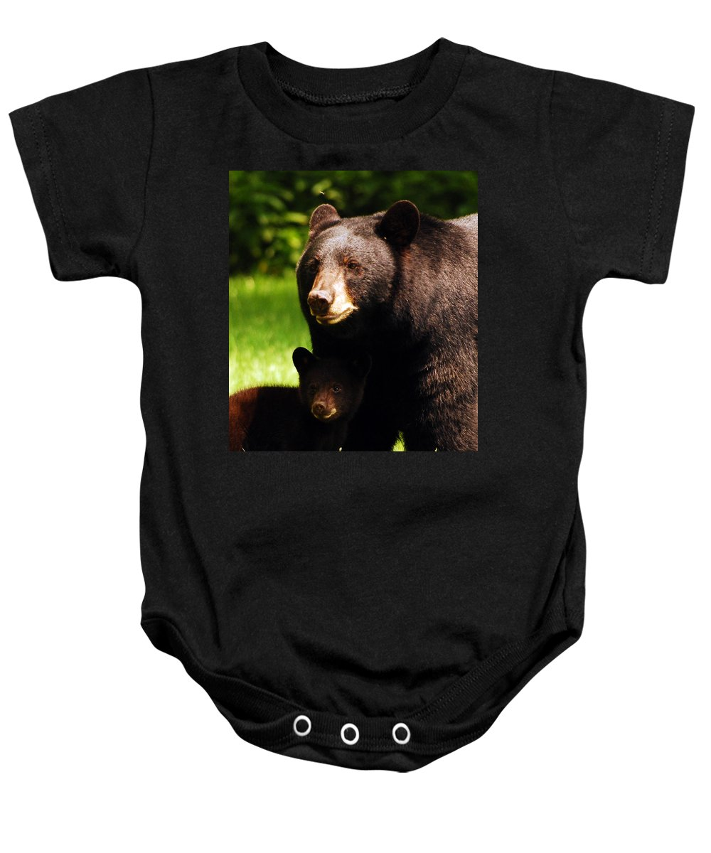 Bear Baby Onesie featuring the photograph Backyard Bears by Lori Tambakis
